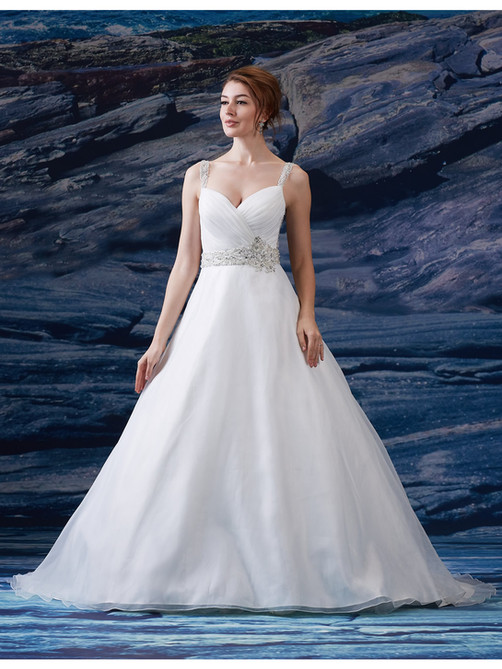 Rouched sweetheart neckline with wide beaded straps. Wide beaded band at natural waist. Full A-line skirt. Illusion back with buttons. Court length train.