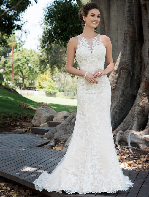 High Collar Illusion sweetheart neckline decorated with lace fit and flare gown, beautiful dramatic back with a court length train