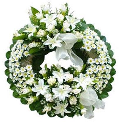 Corona fúnebre margaritas con lilis