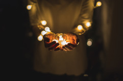 Holding Fairy Lights in Hands