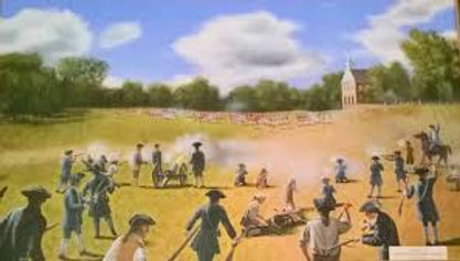 Larry Felder's depiction of the Battle of Connecticut Farms on display at the Caldwell Parsonage, 909 Caldwell Avenue, Union