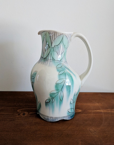 Water Jug with Petal and Vine Deco
