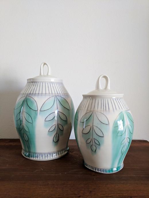 Jars with Fern Pattern