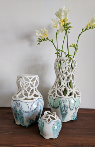 Arrangement of Pierced Vases