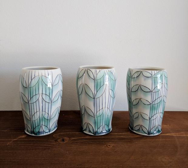 Tumblers with Petal/Vine Pattern