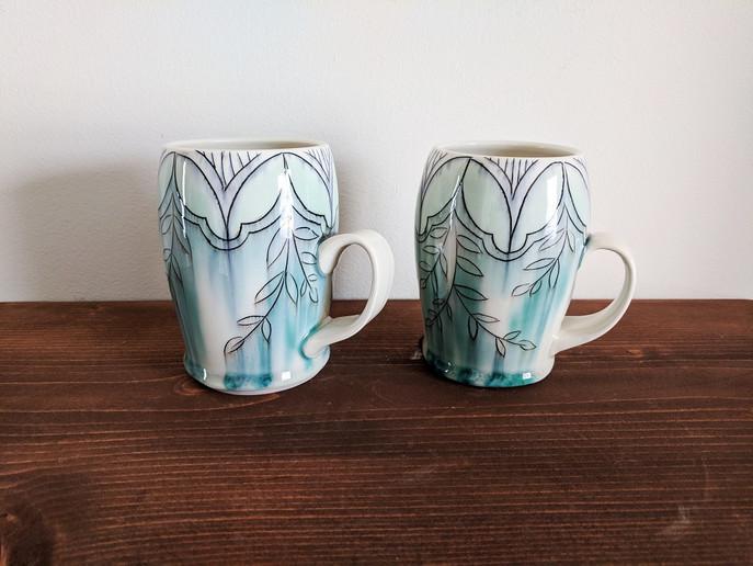 Mugs with Petal and Vine Deco