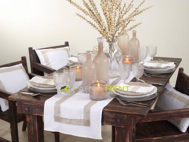 caminos de mesa blanco lino