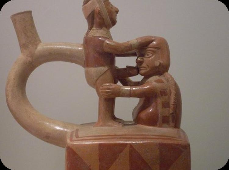 Huaco homoerótico de la cultura Moche