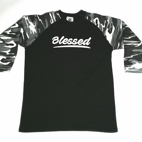 """Blessed Warrior"" Camo 3/4 Sleeve Shirt"