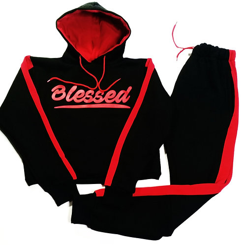 "Women's ""Blessed"" 3/4 Cropped Top Hoodie Sweatsuit."