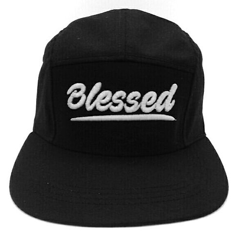 """I Am """"Blessed"""" 5 panel hat with adjustable leather strap."""
