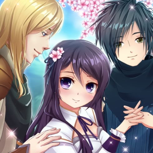 This is the icon of Anime Love Story Game: Shadowtime, portraying the main characters in front of a cherry blossom tree