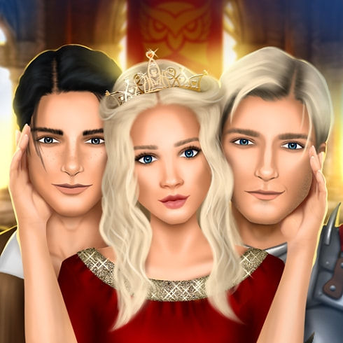 This is the icon of Royal Affair Love Story Game, depicting the princess (your character), a knight and a stable boy.