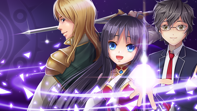Feature graphic of the MC of Shadowtime love story game in her avatar flanked by her two friends, Hiro and Daisuke