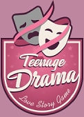 Teenage Drama Love Story Game logo on a pink background.