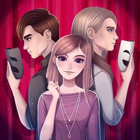 This is the icon of Teenage Drama Love Story Game, featuring main characters in the theater.