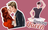 Vampire Love Story characters are kissing while John from Teenage Drama is dancing ballet.