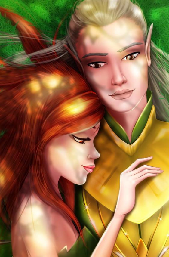 On the grass with Dairon in Fantasy Love Story Game