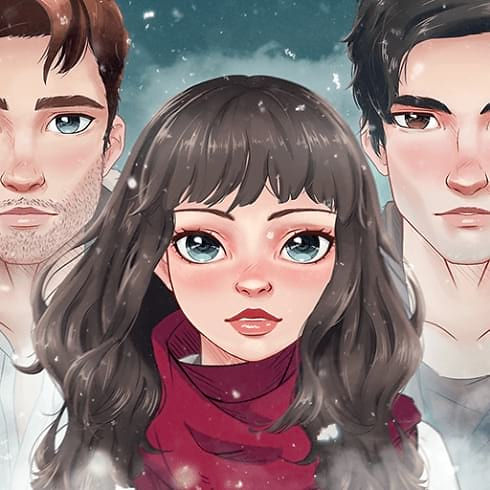 This is the icon of Amnesia Love Story Game, which features the main character and two men - her love choices.