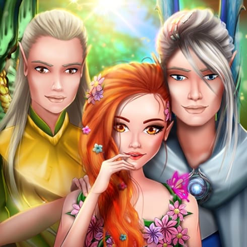 This is the icon of Fantasy Love Story Game, which portrays main characters in the kingdom of Valeria.