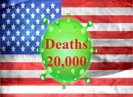USA में कोरोना से मरने वालों का आंकड़ा पहुंचा 20 हजार के पार