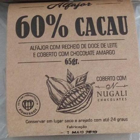 6  Alfajores 60% CACAU com chocolate Nugali