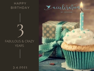 Happy Third Birthday ACCELERATION by design LLC