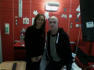 James Titchen meeting Jessic Ennis-Hill at the Queen Elizabeth Hospital