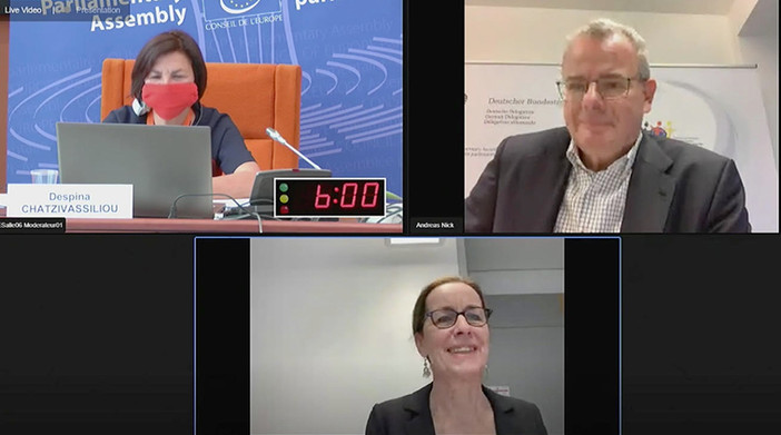Εξ αποστάσεως συνάντηση της Επιτροπής Πολιτικών Υποθέσεων, υπό την προεδρία του Andreas Nick, με τη συμμετοχή της Ευρωβουλευτή, Fabienne Keller, τον Δεκέμβριο του 2020.