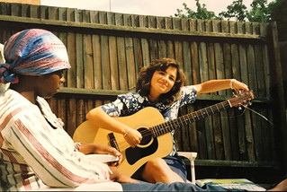 Teaching the guitar, in London, in summer 1991