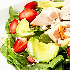 Spinach, Strawberries and Oven Roasted Chicken Salad
