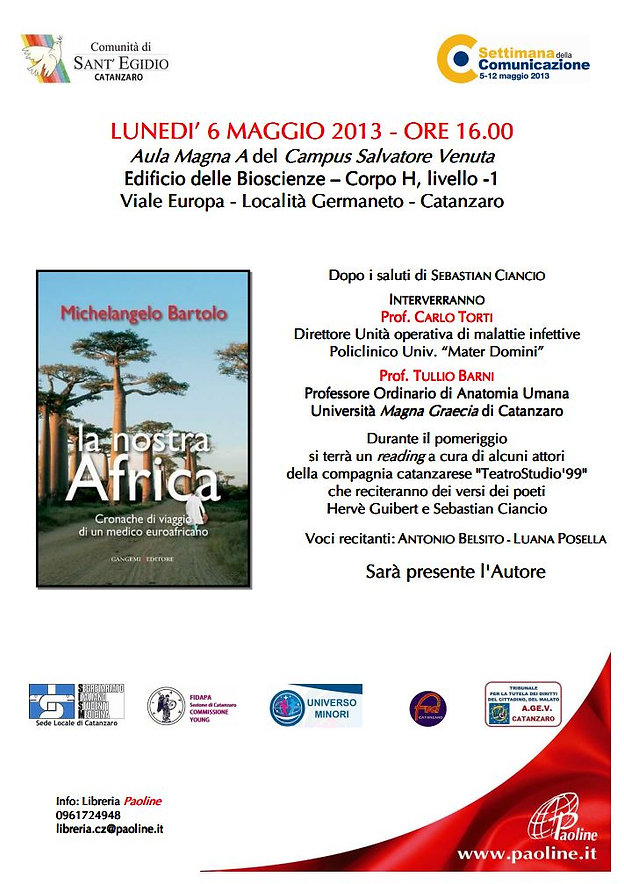 catanzaro; presentazione; la nostra Africa; Bartolo; Michelangelo; Africa; libro