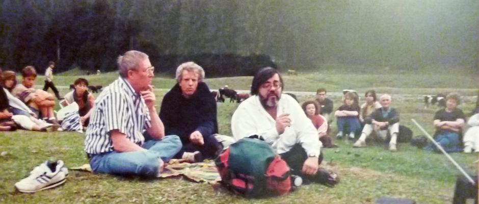Cu Patrick Tomatis (stg) si Jean-Pierre Laffez, figuri marcante in forul conducator al Federatiei Franceza a Profesorilor de Yoga, invitati la tabara de vara  de la Moeciu
