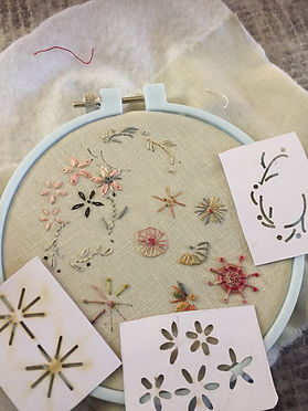 Sewing loop with flowers