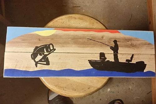 Bass Fishing Wooden Sign