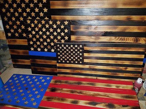 Charred American Flags