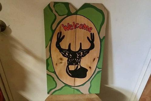 Camo Deer Welcome Sign