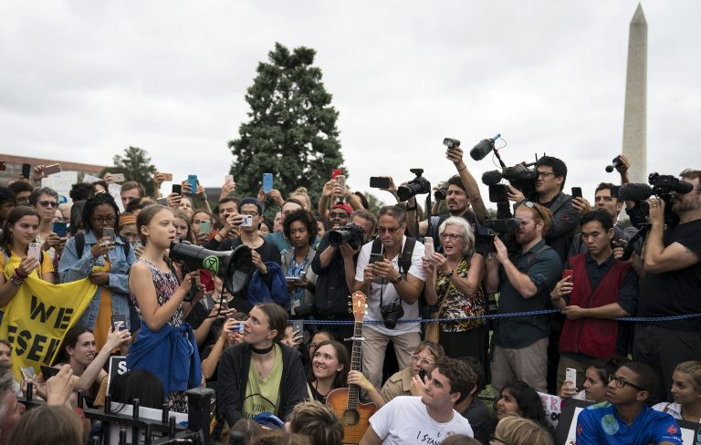 Climate change activist, Greta Thunberg, outside the White House in Washington, DC [09/2019]