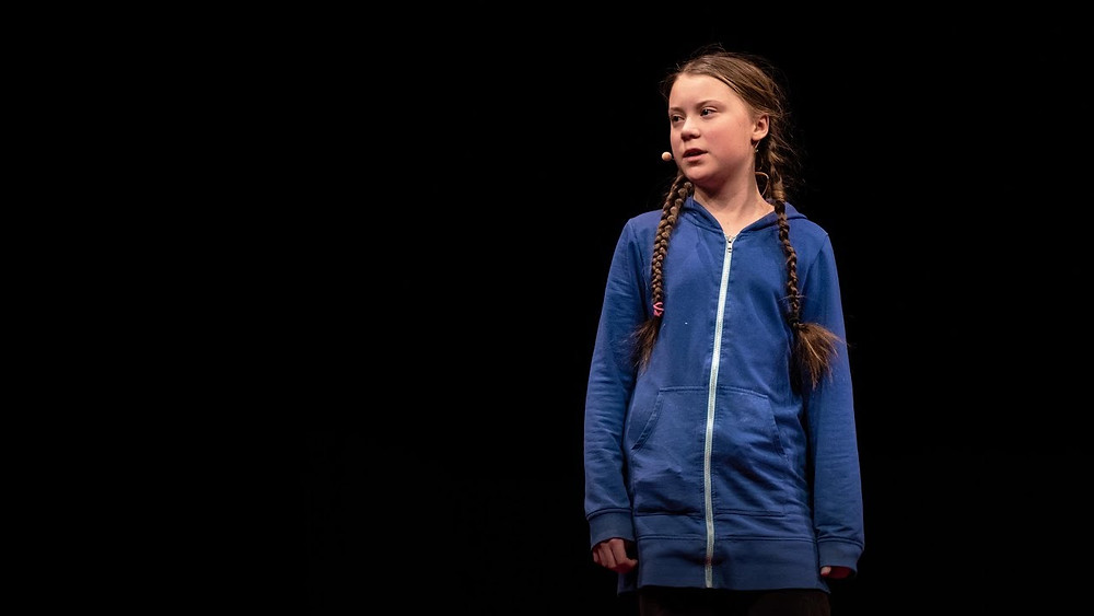 Greta Thunberg, climate change activist, speaking at a Ted Talk event. [TEDxStockholm/November 2018]