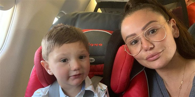 "Jenni ""Jwoww"" Farley and her son Greyson. (via Instagram)"