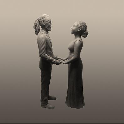 Alice and Dave Figurine. Statue, sculpture, figure, sculptor, unique wedding gift, Tiffany Monk