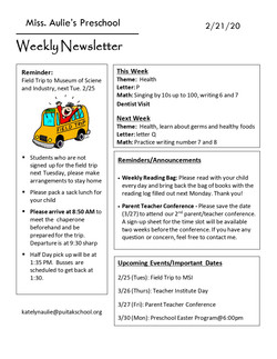 KatelynNewsletter2020February3rdWeek