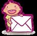 icone contact pour Le Dressing de Bébé, koxintox graphiste illustrateur à Lisle sur Tarn, Caroline Pillet,création logo,illustration