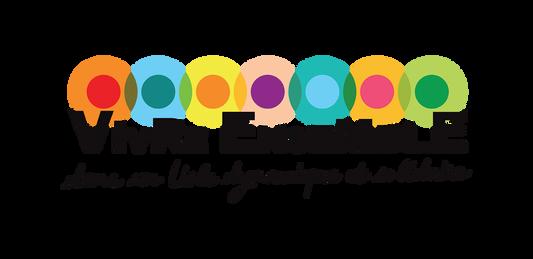 logo VIVRE ENSEMBLE, koxintox graphiste illustrateur à Lisle sur Tarn, Caroline Pillet,création logo,illustration