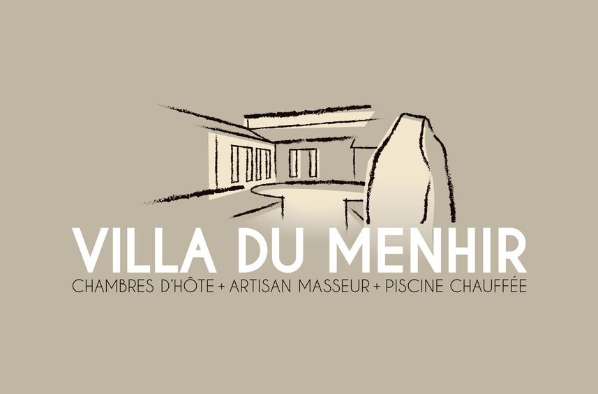 LOGO Villa du Menhir, koxintox graphiste illustrateur à Lisle sur Tarn, Caroline Pillet,création logo,illustration