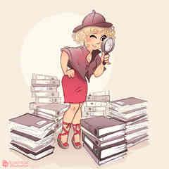 dessin d'une femme sexy qui rappelle Sherlock Holmes car elle fouille et cherche des dossiers avec une loupe dans les archives, réalisé par caroline pillet alias koxintox qui est graphiste dans le Tarn à lisle-sur-tarn