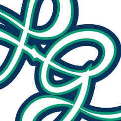 logo de la musicienne _Louise Grévin_ par caroline pillet alias koxintox qui est graphiste dans le Tarn à lisle-sur-tarn, c'est un monogramme L et G qui est une typographique bleu turquoise qui évoque les ouïes d'un violoncelle