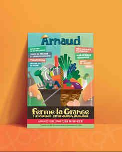 flyer Arnaud le maraicher realise par caroline pillet alias koxintox qui est graphiste dans le Tarn à lisle-sur-tarn