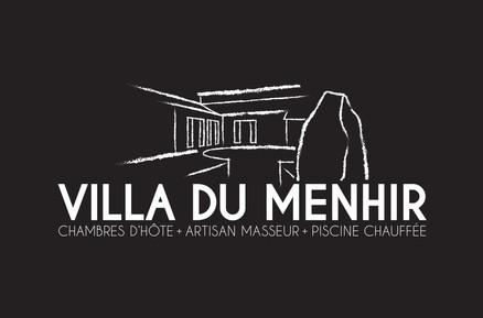 LOGO Villa du Menhir fond noir, koxintox graphiste illustrateur à Lisle sur Tarn, Caroline Pillet,création logo,illustration