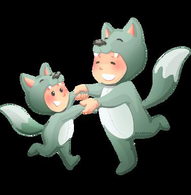 Les P'tits Lis'Loups, enfants qui font la ronde déguisés en loup, koxintox graphiste illustrateur à Lisle sur Tarn, Caroline Pillet,création logo,illustration